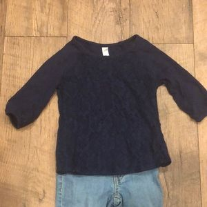 Cherokee navy long sleeve T with lace detail.